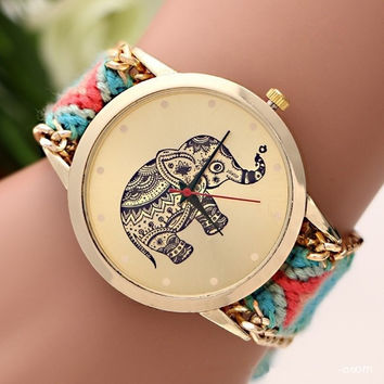 New Brand Hand-knitted Braided Elephant Friendship Bracelet Watch GENEVA Ladies Quarzt Watches relogio feminino = 1956893892