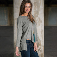Gray Long Sleeve Asymmetric Knit Shirt