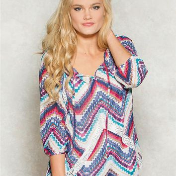 Jolt Chevron Aztec Peasant Top