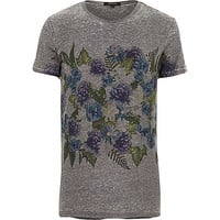 River Island MensDark grey chest placement print t-shirt