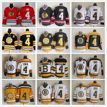 Throwback #4 Bobby Orr Jersey Boston Bruins Jersey Chicago Blackhawks Jerseys Vintage CCM Bobby Orr Hockey Jersey Bruins lace Stitch A Patch