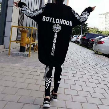 DCCK6HW Boy London' Women Casual Personality Wing Eagle Letter Pattern Print Loose Long Sleeve Medium Long Section Sweater Dress