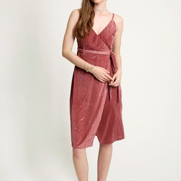 Heartbeats Velvet Wrap Dress