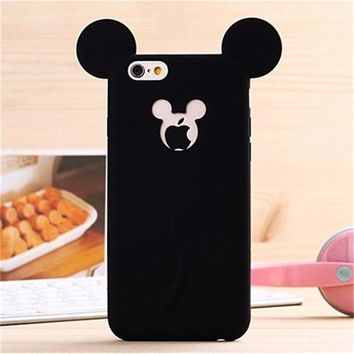 Cute Candy Colors Colorful 3D Soft Mickey Mouse Ear Silicone Cartoon Phone Case Cover for iphone 6 6S 4.7Inch Free Shipping P50