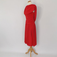 Vintage 1970s Ruby Red Bodycon Dress Vegas 70s Coffin Draped Gown 80s Party Cocktail Dress Ruched Cape Dress Tacky Bridesmaid Punk Rocker