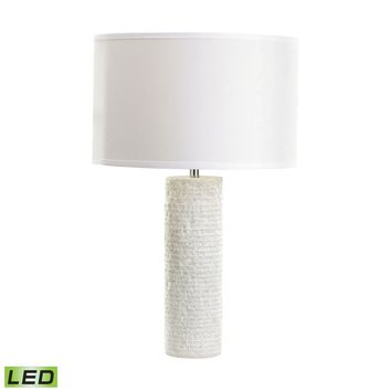 Rough Round Marble LED Table Lamp White Marble