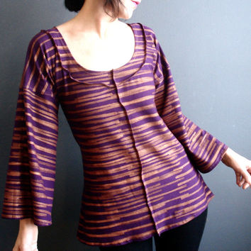 Where You Begin - iheartfink Handmade Hand Printed Womens Unique Wearable Art Purple Metallic Stripes Print Bell Sleeves Jersey Top