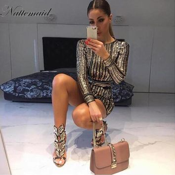 NATTEMAID Long Sleeve Mini Sequin Dress Women Striped Bodycon Autumn Winter Dresses Vestidos De Fiesta Clubwear Party Sexy Dress