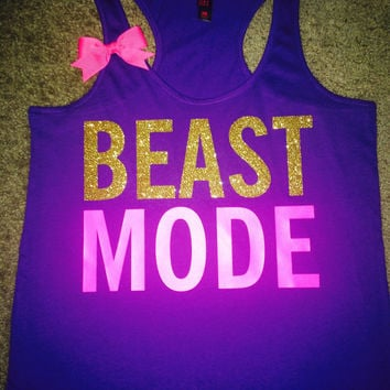 SALE - Beastmode Tank - Purple - Ruffles with Love - Womens Fitness - Workout Tank - Bow Tank