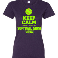 Keep Calm or I'll use my Softball Mom Voice custom t shirt softball green and red design Free Shipping