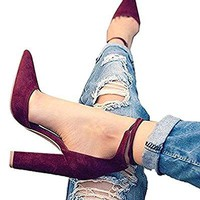Women's Chunky Ankle Strappy Sandal Huiyuzhi Pointed Toe High Heels