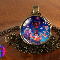 Steven Universe Stars Necklace Cosplay Glass Photo Pendant Jewelry Toy Gift