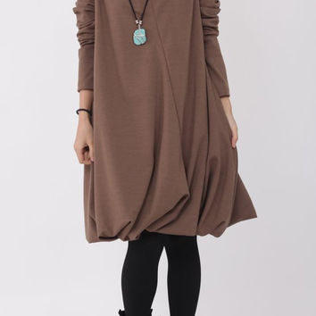 Pile collar cotton dress in light coffee color