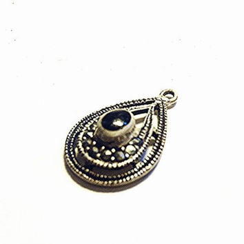 STOREWIDE SALE! 925 Sterling Silver Black Onyx & Marcasite Stones Fancy Teardrop Pendant Vintage Stamped Sterling Silver Onyx and Marcasi...