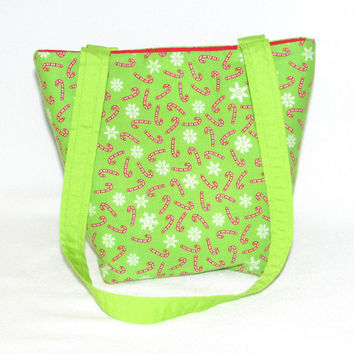 Purse, Christmas Purse, Small Tote Bag, Candy Cane, Snowflake,  Green, Cloth Purse, Handmade Handbag, Fabric Bag, Shoulder Bag