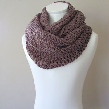 Plum scarf, Double Infinity Crocheted Scarf, Chunky Cowl, Snood