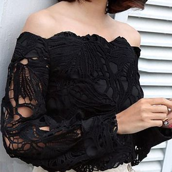 Black Patchwork Lace Cut Out Off Shoulder Lantern Sleeve Blouse