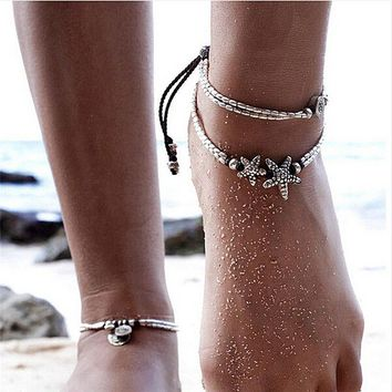 Summer Boho Starfish Anklet Vintage Ankle Bracelet Women Buddha Foot JewelryevG