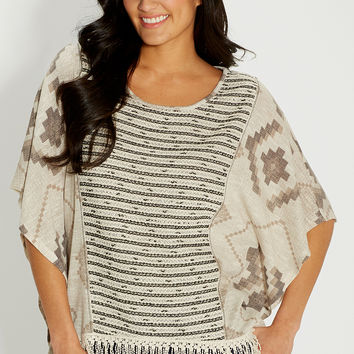 poncho top in ethnic print