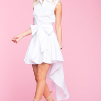 Bow Front High Low Skirt Dress