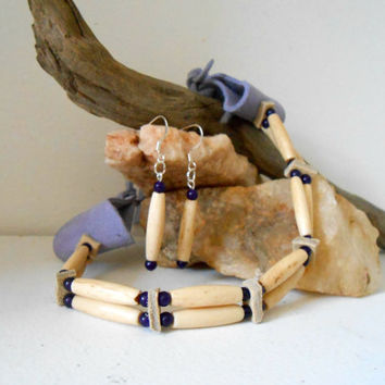 Handmade Bone and Gemstone Choker and Earring Set, Women's Two Strand, Amethyst, Antique Bone Beads, Native American, Hippie, Regalia, Boho