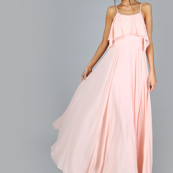 Pink Spaghetti Strap Frill Flow Maxi Dress