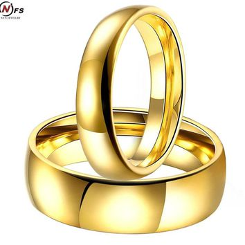 Simple Couple Wedding Rings Pair Gold-Color Couple Rings Stainless Steel Jewelry Couple Engagement Rings Set For Women And Men