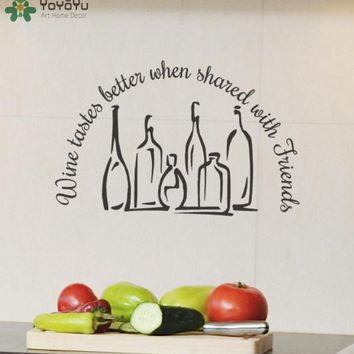 """""""Wine Tastes Better when Shared with Friends"""" Vinyl Wall/Window Decals FREE SINGLE-ITEM U.S. SHIPPING*"""