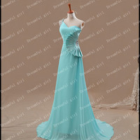 One shoulder  Floor-length chiffon with Crystal beads chiffon bridemaid dresses evening dresses ,prom dress party dress