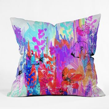 Holly Sharpe Summer Rain Outdoor Throw Pillow