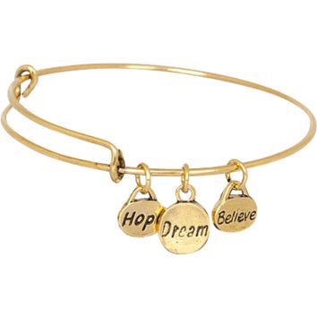 Hope Dream Believe Gold Plated Stainless Steel Expandable Bangle