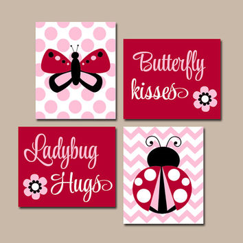 Butterfly Lady Bug Wall Art, Canvas or Prints, Butterfly Kiss Ladybug Hugs, Baby Girl Nursery, Girl Bedroom Pictures, Quote Decor Set of 4