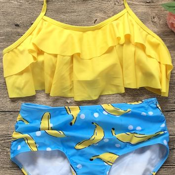 Yellow Banana Overlay Bikini Sets