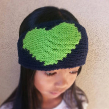 "Hand Knit Seattle Seahawks Inspired ""I Love My Team"" Headband for Women and Children (8+)"