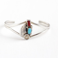 Vintage Sterling Silver Turquoise & Coral Cuff Bracelet - Retro 1960s Red and Blue Gem Southwestern Flower Leaf Motif Boho Tribal Jewelry
