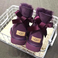 UGG popular casual men and women with velvet bow top UGG boots