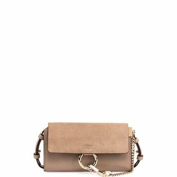 Chloe Faye Suede/Leather Wallet-on-a-Strap, Gray