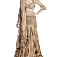 Gold Embroidered Lengha Set