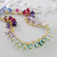 Gemstone Anklet in Jewel Tones Gold Jewelry by livjewellery