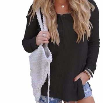 Women's Black Ribbed Long Sleeve Button Up Blouse