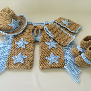 Baby Cowboy Chaps Outfit - 6pc Cowboy Set w/Chaps, Diaper Cover, Hat, Vest & Boots w/Spurs - Newborn - 0-3 - Photo Prop - Baby Shower Gift