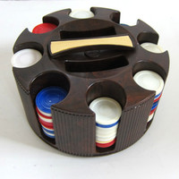 Vintage Poker Caddy with Poker Chips / Revolving Poker Chip Rack / spinning Poker Chip holder