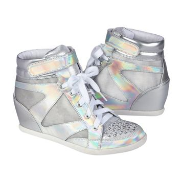Silver Metallic Wedge Sneakers | Sneakers | Shoes | Shop Justice