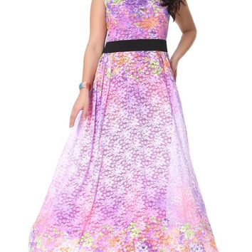 Streetstyle  Casual Delightful Floral Lace V-Neck Plus Size Maxi Dress