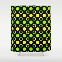Lemon And Lime Rings And Polka Dots Shower Curtain by Inspired By Fashion