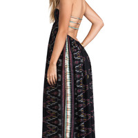 Indah Flamingo Smocked Bandeau Maxi Dress in Black