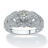 .53 TCW Round Cubic Zirconia Flower Miligrain Ring in Platinum over Sterling Silver
