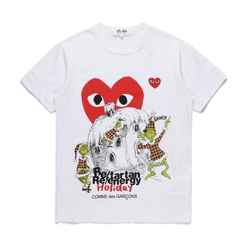 Best Deal Online Men's DSM limited edition CDG PLAY COMME DES GARCONS Play White Re-tartan Re-energy Holiday Fashion T-Shirt