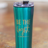 Be the Light Matthew 5:14 Stainless Travel Mug {Emerald}