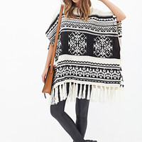 Abstract Pattern Fringed Poncho